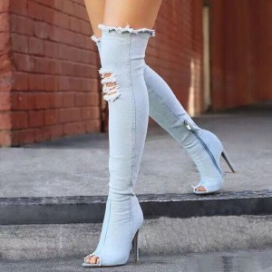 Light Blue Denim Stiletto Heels Peep Toe Heels Over-The-Knee Boots
