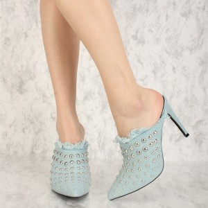 Light Blue Denim studs Pointy Toe Stiletto Heel Mules