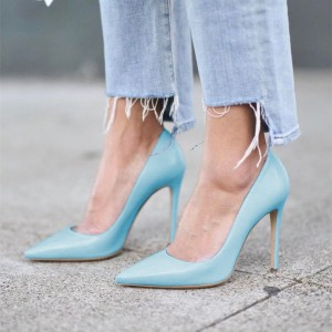 Light Blue Office Heels Pointy Toe Stiletto Heel Dressy Pumps