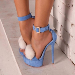 Blue Platform Fur Heels Suede Stiletto Heel Ankle Strap Sandals