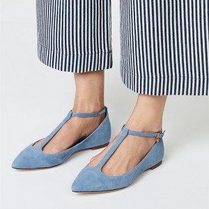 Light Blue Pointy Toe Comfortable Flats T Strap Ballet Shoes