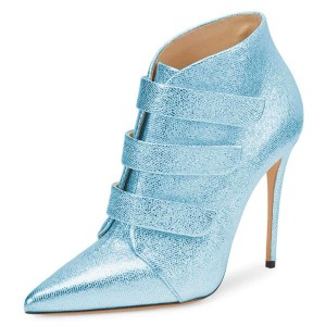 Light Blue Pointy Toe Stiletto Heel Ankle Booties