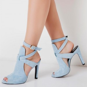 Light Blue Stiletto Heels Peep Toe Ankle Strap Slingback Sandals