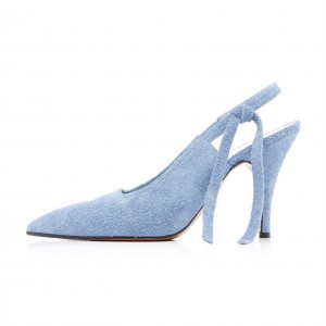 Light Blue Suede Bow Slingback Heels Pumps