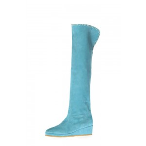 Light Blue Suede Long Boots Platform Heel Knee-high Boots