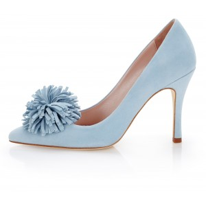 Light Blue Suede Stiletto Heels Pointed Toe Pumps