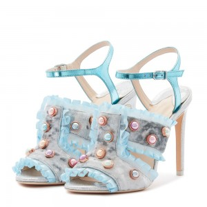 Light Blue Velvet Pearl Stiletto Heels Sandals