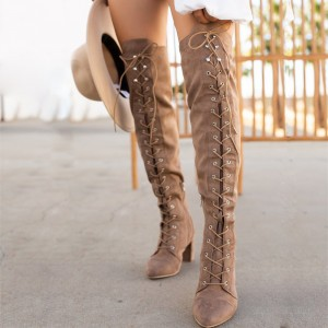 Light Brown Lace Up Boots Chunky Heel Boots Over the Knee Boots