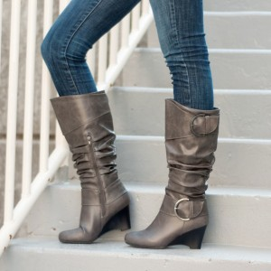 Light Brown Slouch Boots Buckles Wedge Heel Mid Calf Boots