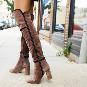 Light Brown Suede Long Boots Chunky Heel Boots