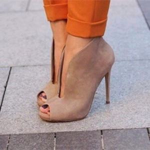 Light Brown Vintage Heels Peep Toe Stiletto Heels Pumps