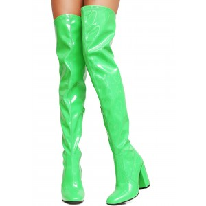 Women's Light Green Long Boots Chunky Heels PVC Thigh-high Boots