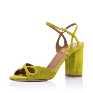 FSJ Moss Green Block Heel Sandals Suede Peep Toe Office Heels