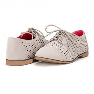 Light Grey Comfortable Shoes Vintage Oxfords Hollow out Flats