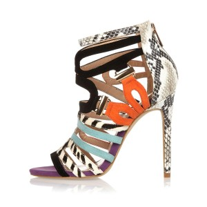 Light Grey Strappy Sandals Python Open Toe Stiletto Heels