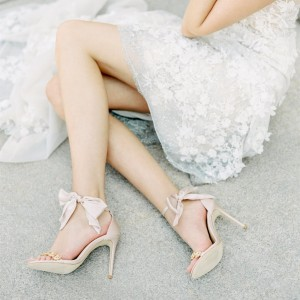 Light Pink Ankle Strap Wedding Sandals Bow Stiletto Heel Sandals