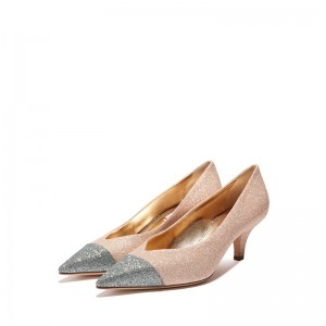 Light Pink Glitter Shoes Pointy Toe Kitten Heel Pumps