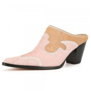 Light Pink Horse Hair Chunky Heel Mules
