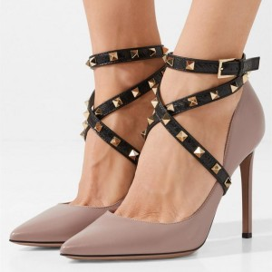 Taupe Rivets Cross Over Ankle Strap Heels Stiletto Pumps
