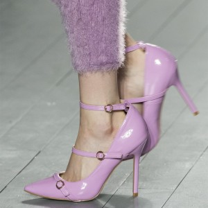 Light Purple Stiletto Heels Patent Leather Buckle Ankle Strap Pumps