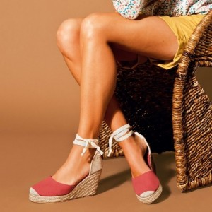 Light Red Suede and Canvas Wedge Heels Strappy Sandals with Platform