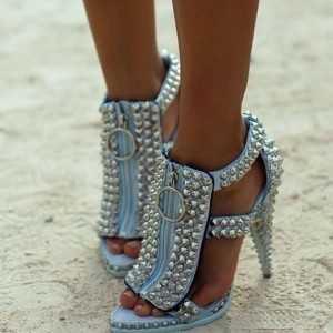 Lightblue Front Zipper Cone Heel T Strap Sandals Studs Shoes