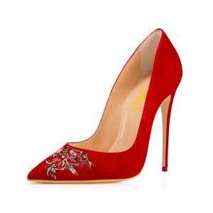 Women's Pointed Toe Red Suede Floral Office Heels Pumps