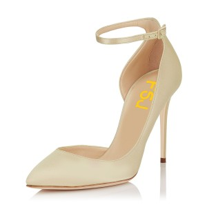 Women's Beige Ankle Strap Heels Stiletto Heel Pumps