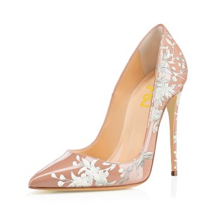 Women's Nude Floral Heels Pencil Heel Pumps