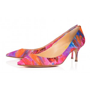 Hot Pink Kitten Heels Landscape Print Pointy Toe Pumps