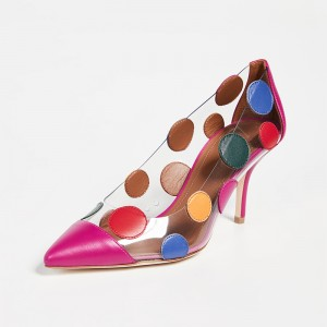 Multi Color Clear Heels PVC Polka Dots Stiletto Heel Pumps