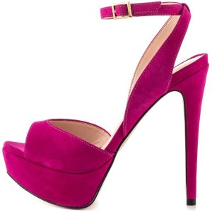 Magenta Wedding Sandals Slingback Stiletto Heels Platform Sandals