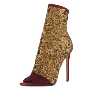 Burgundy and Gold Sequin Boots Peep Toe Stiletto Heel Ankle Boots