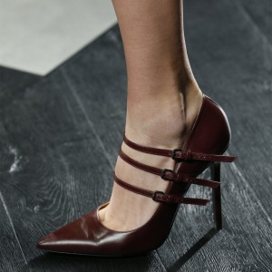 Maroon Buckles Mary Jane Pumps Pointy Toe Stilettos Office Heel Pumps