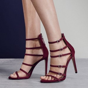 Maroon Buckles Strappy Sandals Open Toe Stiletto Heels Sandals