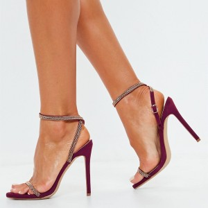 Maroon Chain Evening Shoes Open Toe Stiletto Heels Slingback Sandals