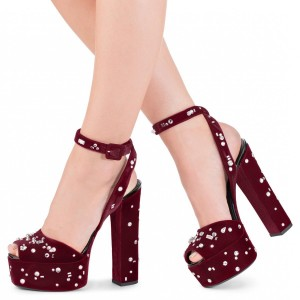 Maroon Chunky Heels Sexy  Slingback Platform Sandals for Women