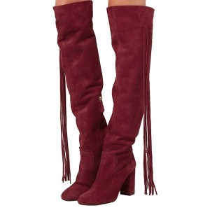 Maroon Fringe Suede Boots Chunky Heel Round Toe Knee High Boots