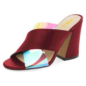 Maroon Hologram Clear Mule heels Cross Strap Sandals