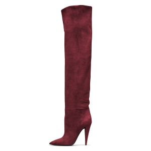 Maroon long Boots Pointy Toe Cone Heel Over-the-Knee Boots