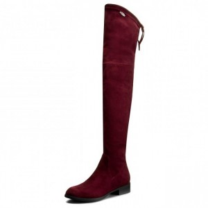 Maroon Long Boots Round Toe Flat Over-the-Knee Boots for Women