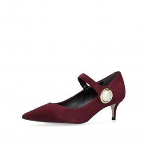 Maroon Mary Jane Pumps Pointy Toe kitten Heels Vintage Shoes