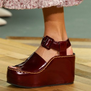 Maroon Open Toe Platform Wedge Sandals
