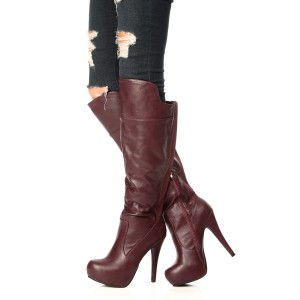 Maroon Platform Boots Stiletto Heels Knee High Boots