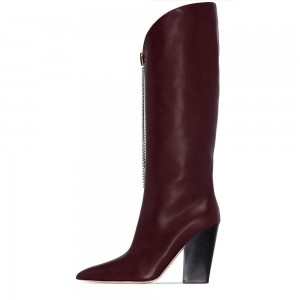 Maroon Rhinestone Chains Block Heel Boots Knee High Boots