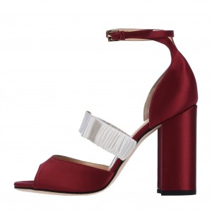 Maroon Satin Ankle Strap Sandals Bow Peep Toe Chunky Heel Sandals