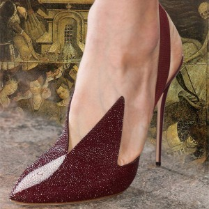 Maroon Slingback Pumps Pointy Toe Stiletto Heel Pumps
