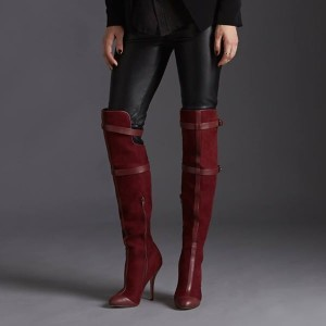 Maroon Stiletto Boots Suede Knee-high Boots for Women