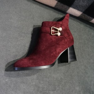 Maroon Suede Accessories Decorated Block Heel Ankle Booties