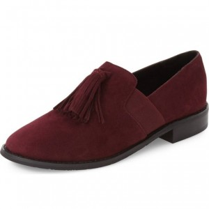 Maroon Suede Tassel Round Toe Loafers for Women
